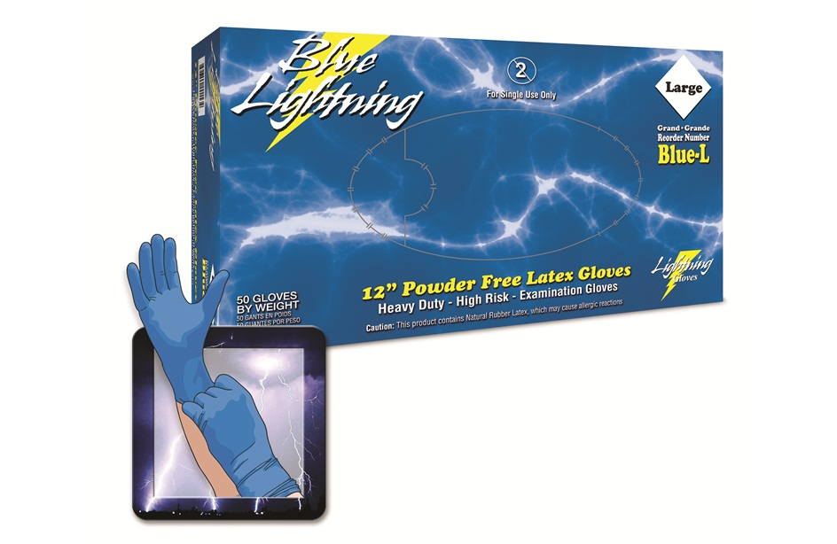 Blue latex gloves by Blue Lightning