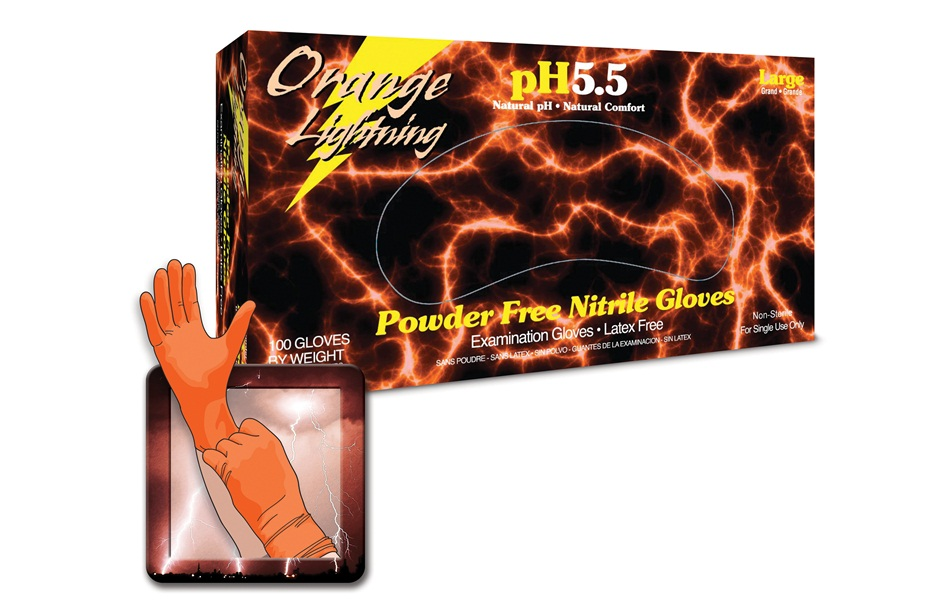 Orange Nitrile Gloves by Orange Lightning