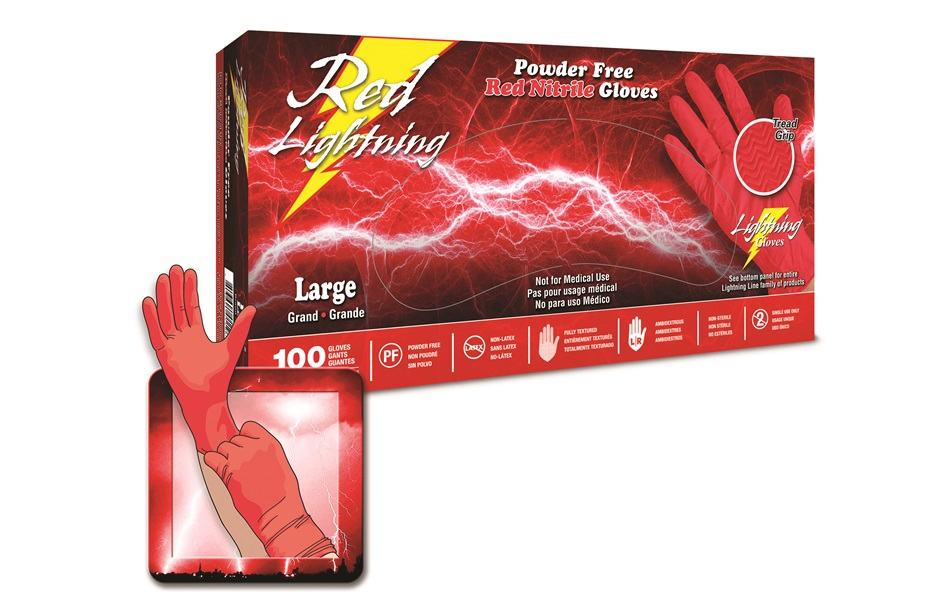 Red Lightning red nitrile gloves
